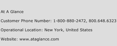 At A Glance Phone Number Customer Service