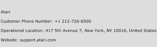 Atari Phone Number Customer Service