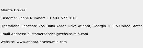 Atlanta Braves Phone Number Customer Service