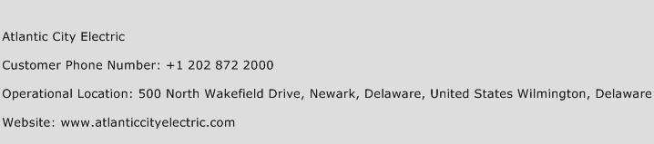 Atlantic City Electric Phone Number Customer Service