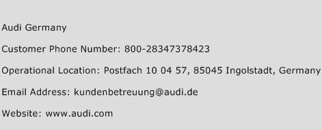 Audi Germany Phone Number Customer Service