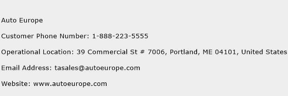 Auto Europe Phone Number Customer Service