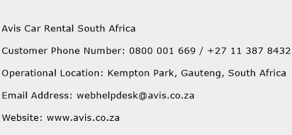 Avis Car Rental South Africa Phone Number Customer Service