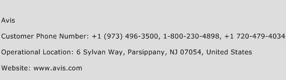 Avis Phone Number Customer Service