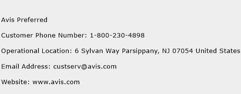Avis Preferred Phone Number Customer Service