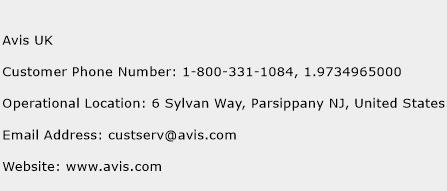 Avis UK Phone Number Customer Service