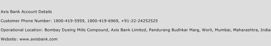 Axis Bank Account Details Phone Number Customer Service