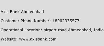 Axis Bank Ahmedabad Phone Number Customer Service