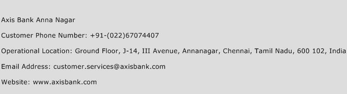 Axis Bank Anna Nagar Phone Number Customer Service