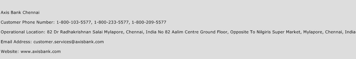 Axis Bank Chennai Phone Number Customer Service