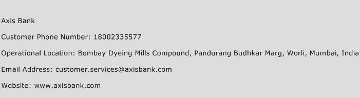 Axis Bank Phone Number Customer Service