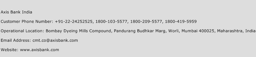 Axis Bank India Phone Number Customer Service