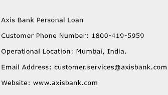 Axis Bank Personal Loan Phone Number Customer Service