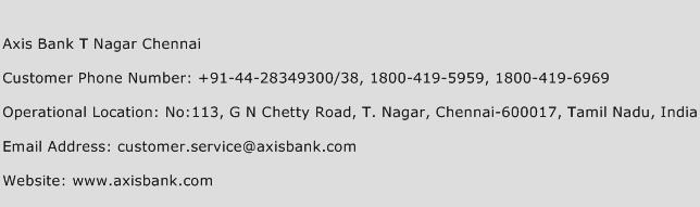 Axis Bank T Nagar Chennai Phone Number Customer Service