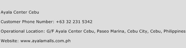 Ayala Center Cebu Phone Number Customer Service