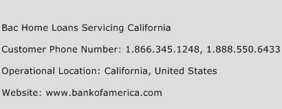 BAC Home Loans Servicing California Phone Number Customer Service
