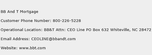 BB And T Mortgage Phone Number Customer Service