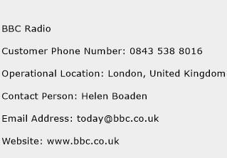 BBC Radio Phone Number Customer Service