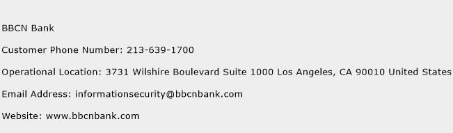 BBCN Bank Phone Number Customer Service