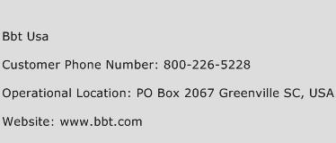 BBT USA Phone Number Customer Service