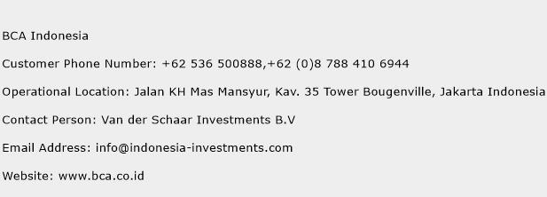 BCA Indonesia Phone Number Customer Service