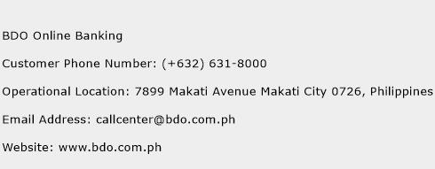BDO Online Banking Phone Number Customer Service