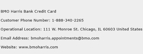BMO Harris Bank Credit Card Phone Number Customer Service