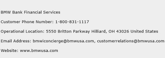 BMW Bank Financial Services Phone Number Customer Service