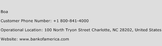 BOA Phone Number Customer Service