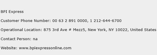 BPI Express Phone Number Customer Service