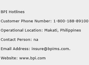 BPI Hotlines Phone Number Customer Service