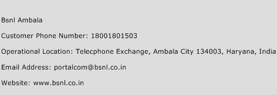 BSNL Ambala Phone Number Customer Service