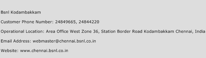 BSNL Kodambakkam Phone Number Customer Service
