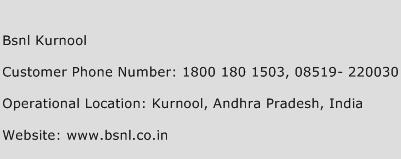BSNL Kurnool Phone Number Customer Service