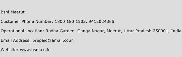 BSNL Meerut Phone Number Customer Service