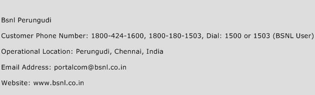 BSNL Perungudi Phone Number Customer Service