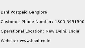 BSNL Postpaid Banglore Phone Number Customer Service