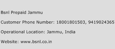 BSNL Prepaid Jammu Phone Number Customer Service