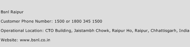 BSNL Raipur Phone Number Customer Service