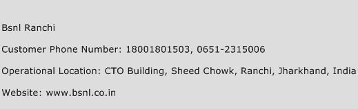 BSNL Ranchi Phone Number Customer Service