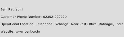 BSNL Ratnagiri Phone Number Customer Service
