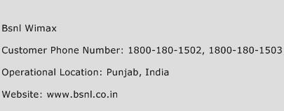BSNL Wimax Phone Number Customer Service