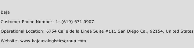 Baja Phone Number Customer Service