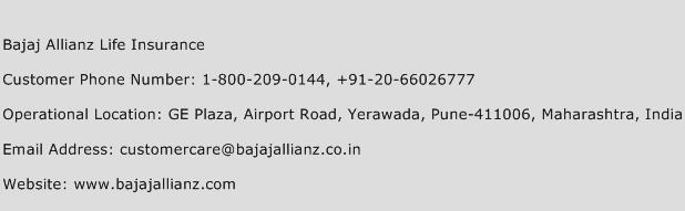 Bajaj Allianz Life Insurance Phone Number Customer Service