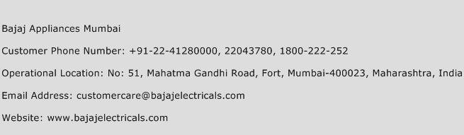 Bajaj Appliances Mumbai Phone Number Customer Service
