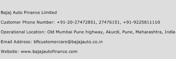Bajaj Auto Finance Limited Phone Number Customer Service