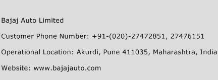 Bajaj Auto Limited Phone Number Customer Service