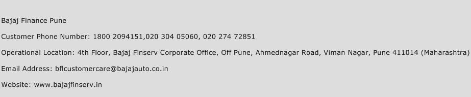 Bajaj Finance Pune Phone Number Customer Service
