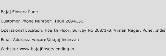 Bajaj Finserv Pune Phone Number Customer Service