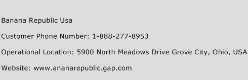 Banana Republic USA Phone Number Customer Service